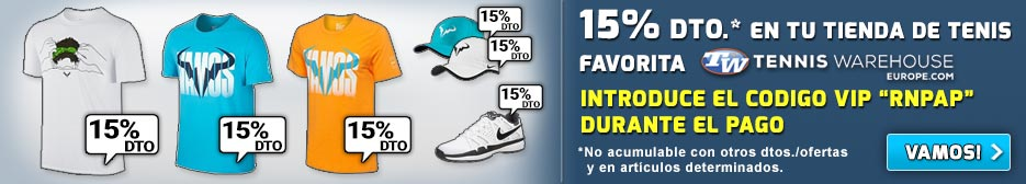 Recuerda que dispones de un 15% DTO. en tu tienda favorita de tenis utilizando nuestro código VIP RNPAP (C) RNPAP