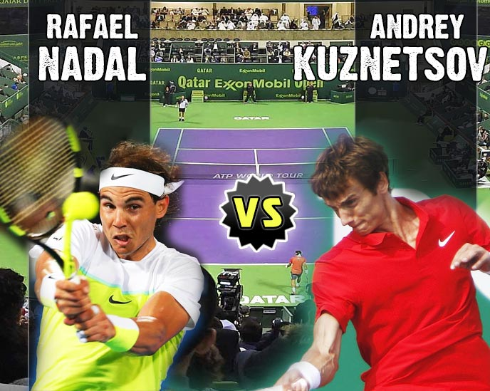 Nadal vs Kuznetsov en Doha 2016