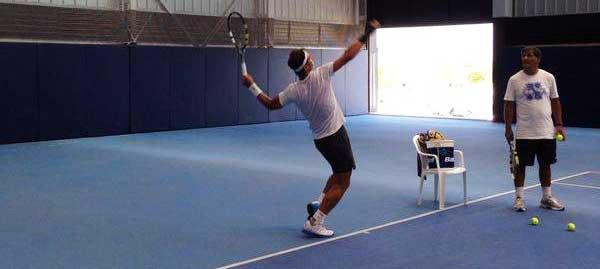 Rafa Nadal entrenando con Toni Nadal 4 agosto 2014