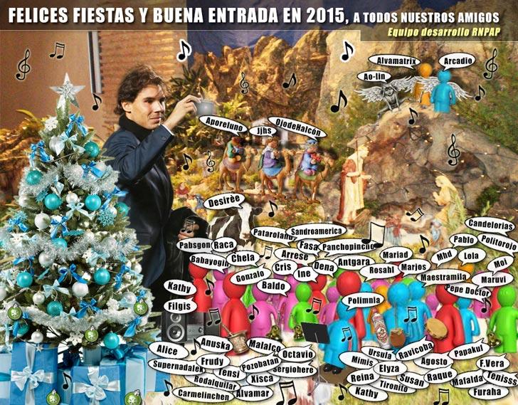 Felices fiestas y buena entrada en 2015, de parte del equipo de desarrollo de Rafa Nadal Partido a Partido