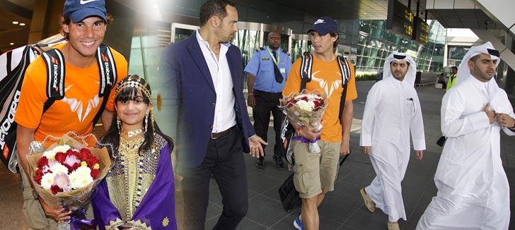 Rafael Nadal recibido en Qatar antes de debutar en el ATP de Doha 2015