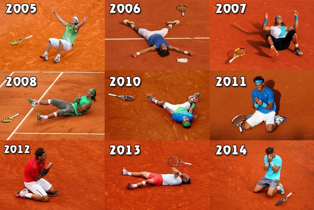 Collage con la celebración de cada Roland Garros conseguido por Rafa Nadal
