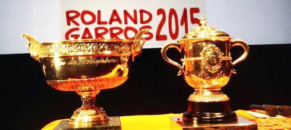 Trofeos exhibidos durante la ceremonia del sorteo del cuadro de Roland Garros 2015