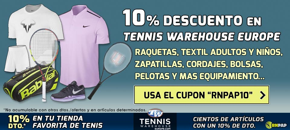 Cupón 10% de descuento en Tennis Warehouse Europe con el código VIP RNPAP10