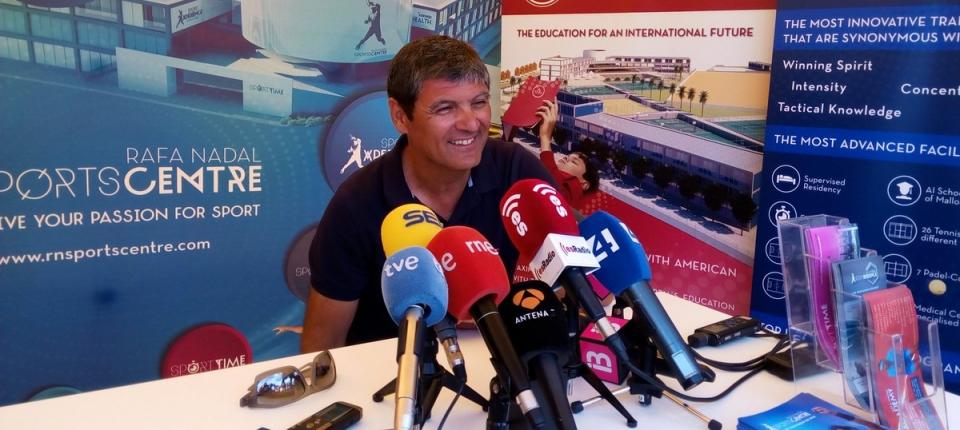Toni Nadal en la rueda de prensa en las instalaciones del torneo WTA de Mallorca