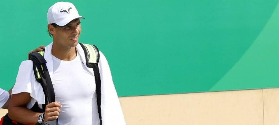 Nadal en sesión de entrenamiento para los Juegos de Río de este martes