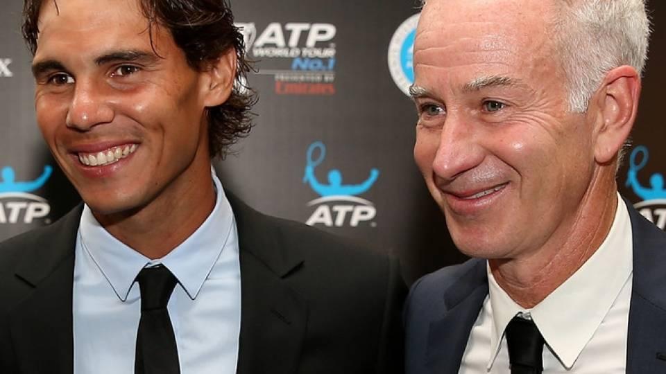 Rafael Nadal y John McEnroe en un evento de la ATP 2013 en Nueva York