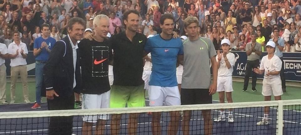 Wilander, McEnroe, Moyá, Nadal y Solbas en el Rafal Nadal Sports Centre