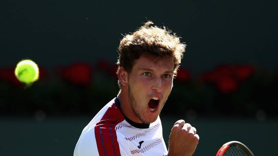 Pablo Carreño celebrando su victoria en los cuartos de Indian Wells vs Pablo Cuevas