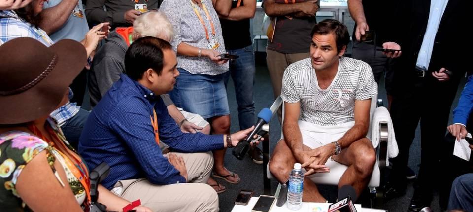 Roger Federer en el día de los medios de prensa del Masters 1000 Miami 2017