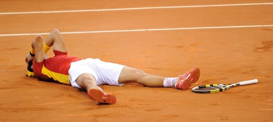 Nadal dando el punto de la victoria a España en la final de Copa Davis 2011 en Sevilla