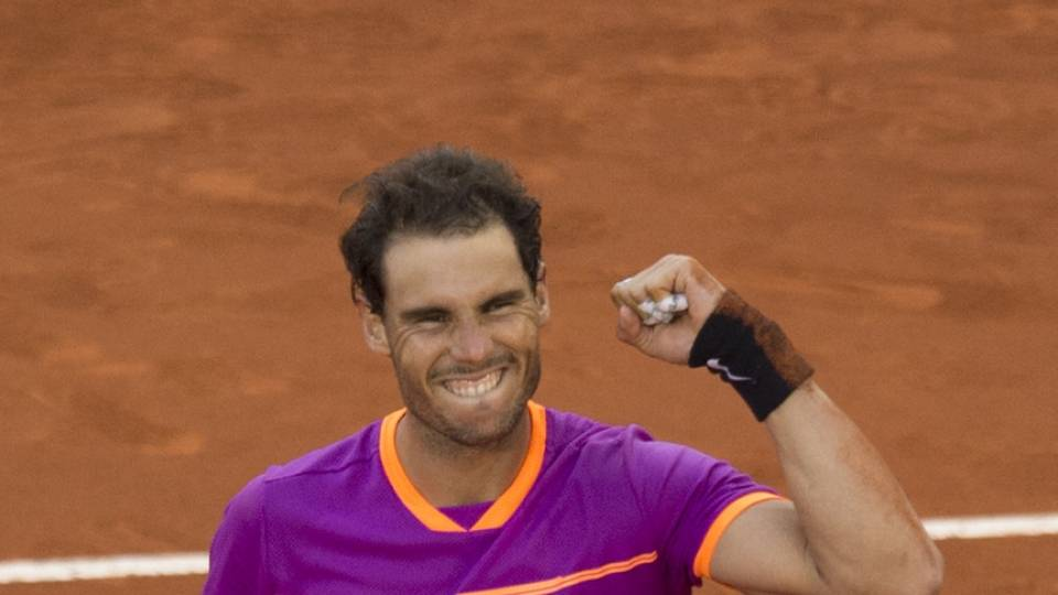 Felicidad desbordada de Nadal durante la final del Mutua Madrid Open 2017 vs Thiem
