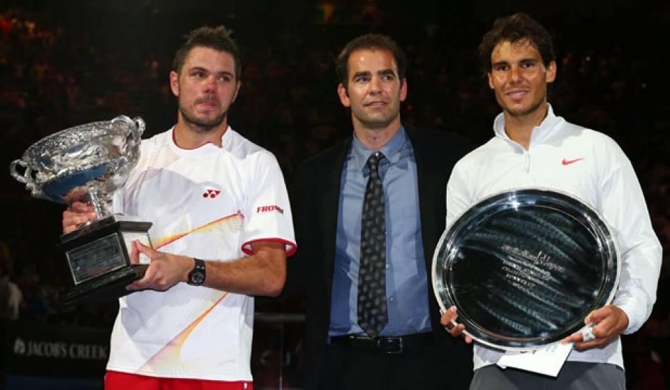 Wawrinka, Sampras y Nadal durante la entrega de trofeos del Abierto de Australia 2014