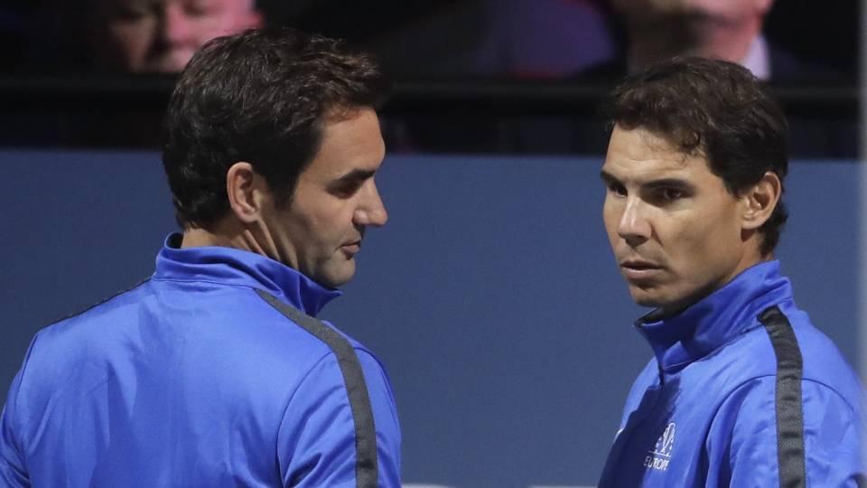 Federer y Nadal en el primer día de la Copa Laver