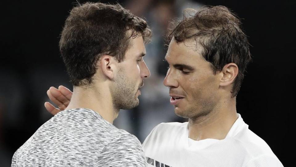 Nadal y Dimitrov durante el pasado Abierto de Australia 2017