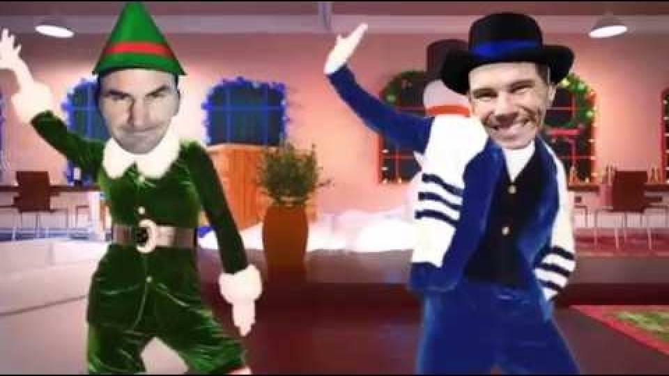 Federer y Nadal bailan en un jingle navideño temporada 2017
