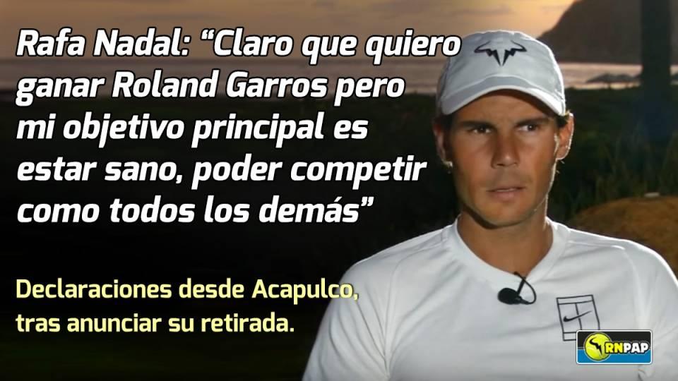 Nadal expresó sus sentimientos tras verse obligado a abandonar en Acapulco
