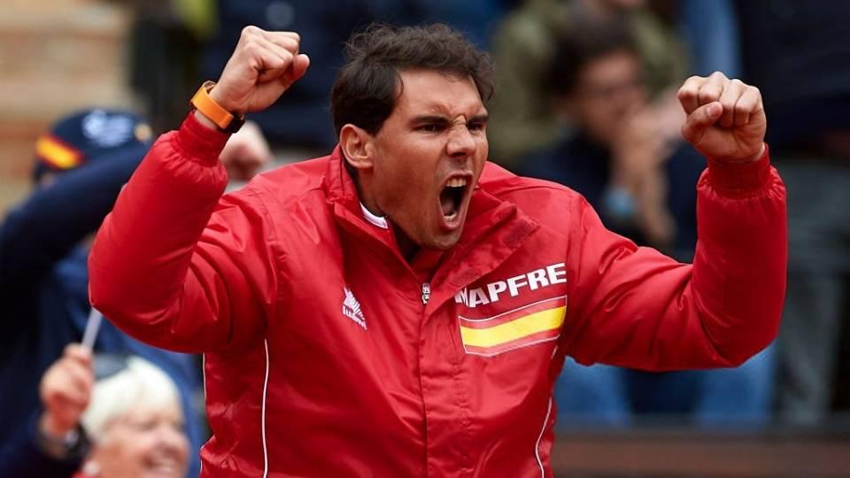 Rafa Nadal celebra un punto del doble en Copa Davis 2018 España-Alemania