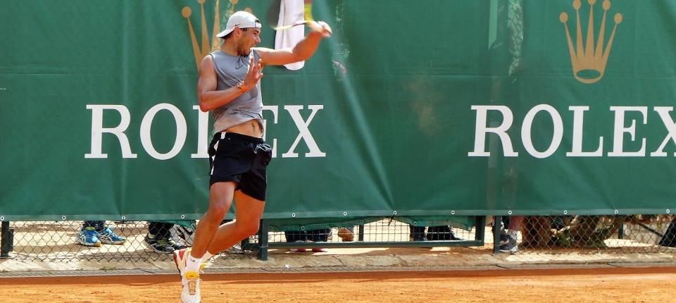 Rafa Nadal durante un entrenamiento en Montecarlo - 17 abril 2018
