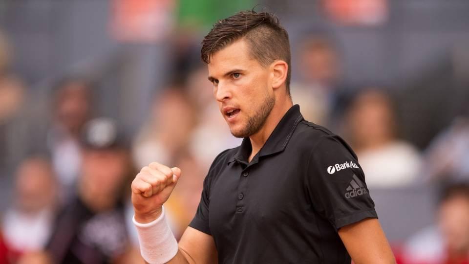 Dominic Thiem celebrando un punto ganado a Rafa Nadal en el Mutua Madrid Open 2018