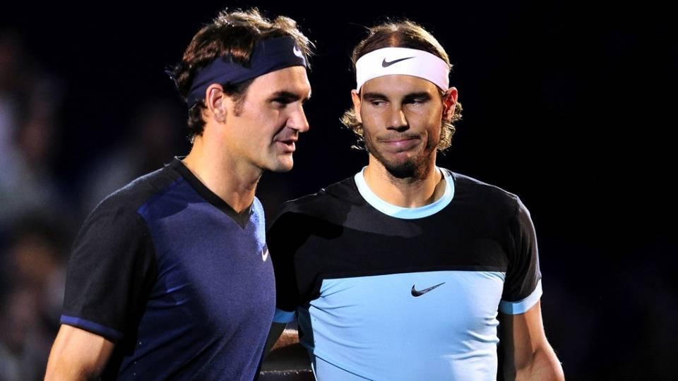 Federer y Nadal durante la final del ATP 500 en Basilea, temproda 2015