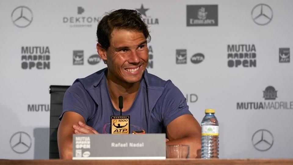 Rafa Nadal durante la rueda de prensa tras caer con Dominic Thiem en el Mutua Madrid Open 2018