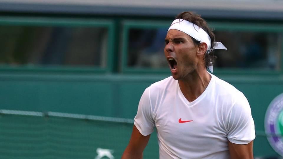Nadal durante un lance del partido contra Del Potro - Cuartos de final Wimbledon 2018