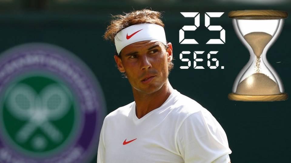 Rafa Nadal contrario al nuevo reloj en pista con tiempo de saque