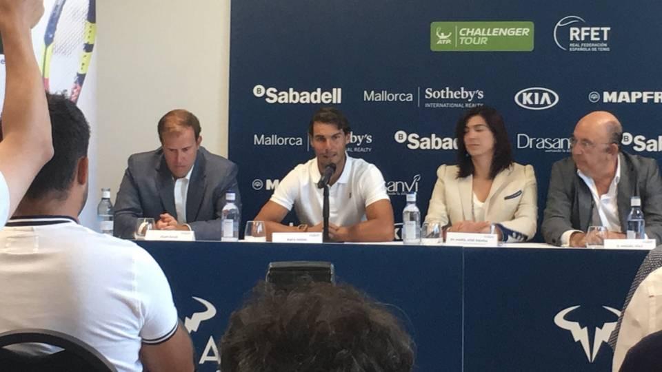 Rafa Nadal durante la presentación del torneo Challenger Rafa Nadal Open Banc Sabadell