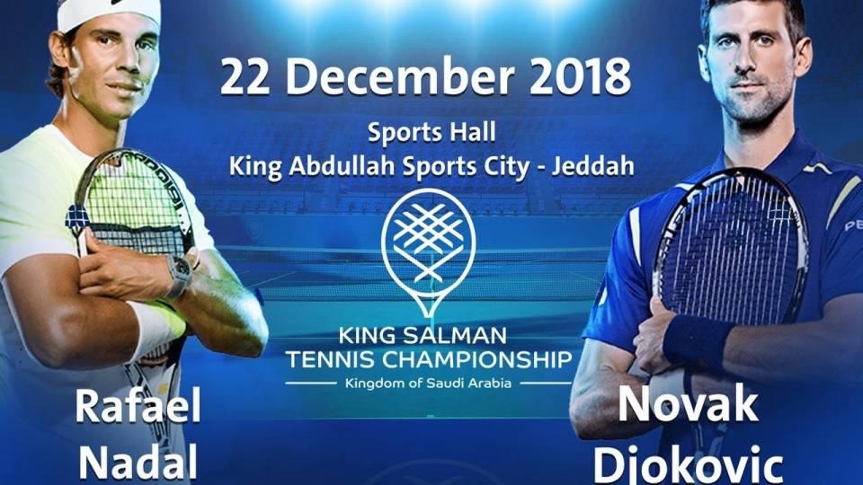 Cartel de la exhibición de Nadal y Djokovic en el Torneo del Rey Salman 2018