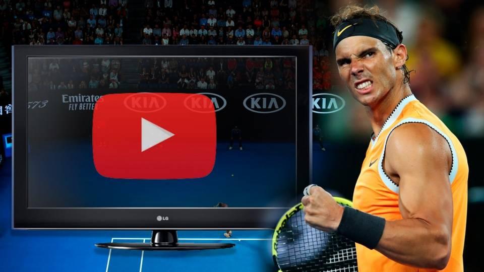 Gesto de Nadal durante su partido contra Tiafoe en el Open Australia 2019