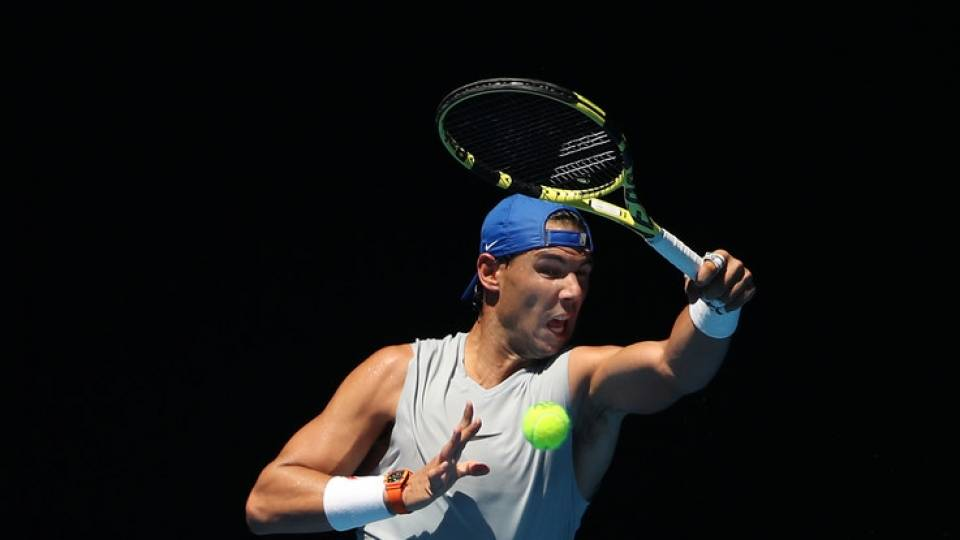 Nadal en sesión de entrenamiento en el Open Australia 2019 - 11 enero