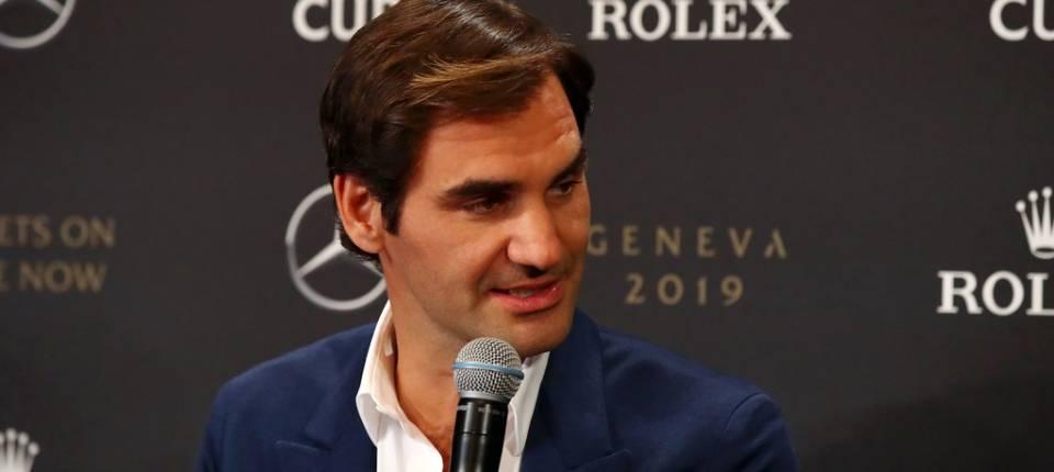 Federer en rueda de prensa durante la presentación de la Laver Cup 2019 - 8 febrero