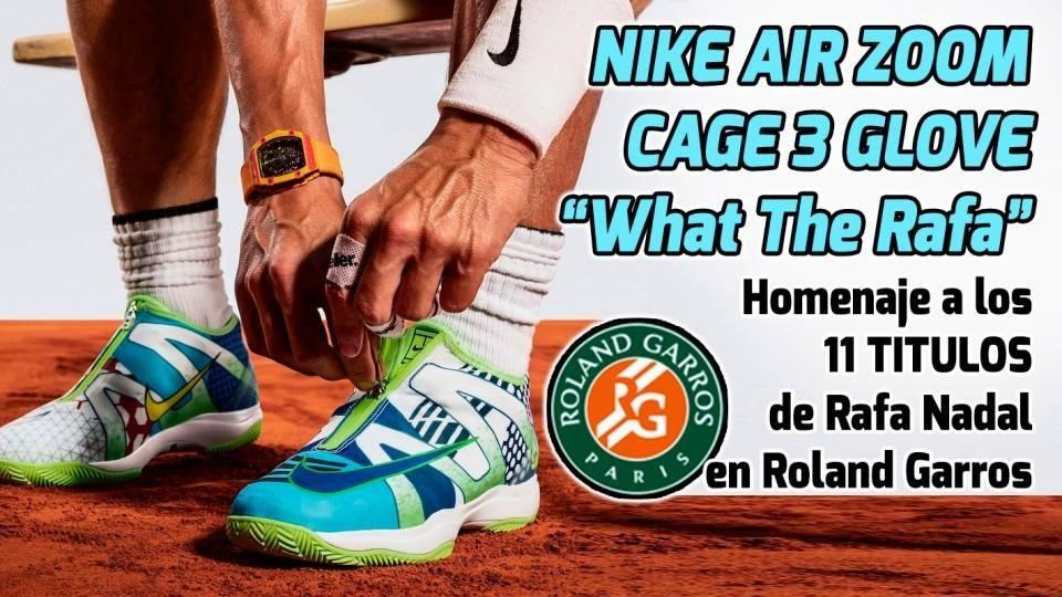 Rafa Nadal se abrocha las nuevas Nike Air Zoom Cage 3 Glove en Roland Garros 2019