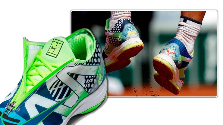 Vista de la cremallera superior y zona talones de las zapas Nike Air Zoom Cage 3 Glove What The Rafa (C) Nike y Vincent Kessler (Reuters)