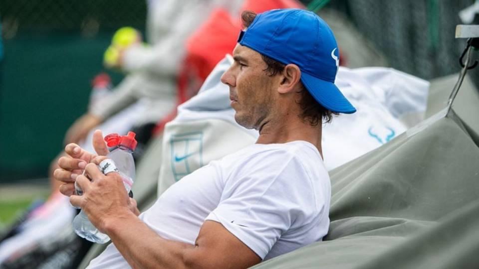 Rafa Nadal durante un entrenamiento en Wimbledon - 26 de junio 2019
