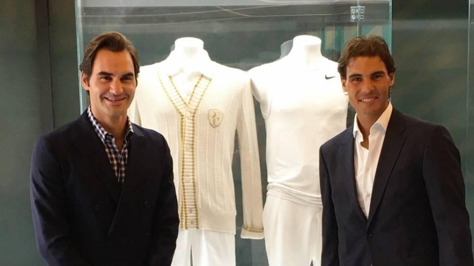 Federer junto a Nadal en la inauguración de la Academia Rafa Nadal en 2016