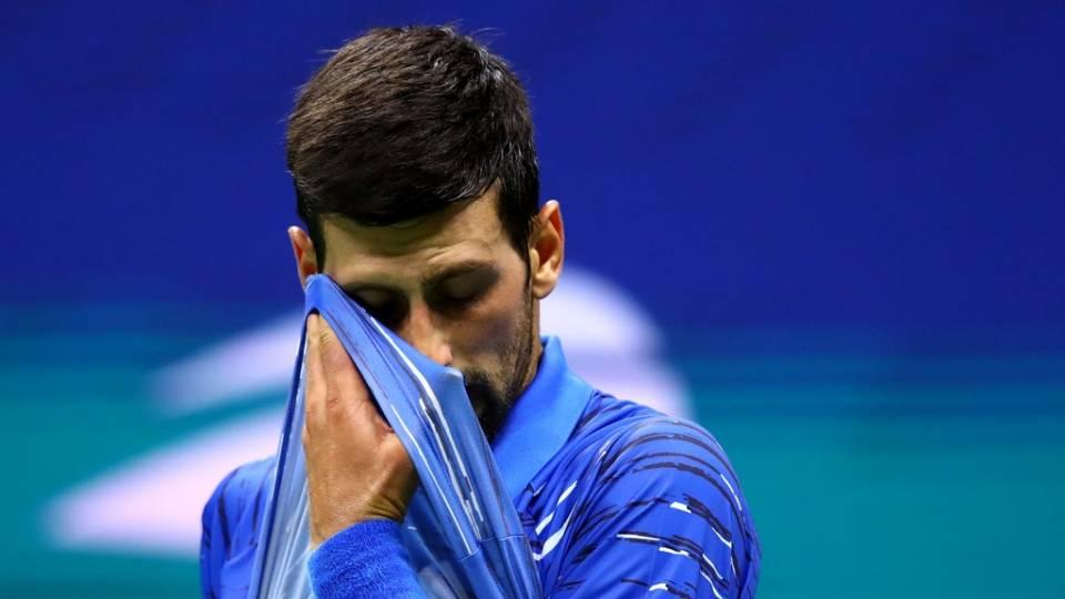 Djokovic durante el US Open 2019, tercera ronda vs Denis Kudla
