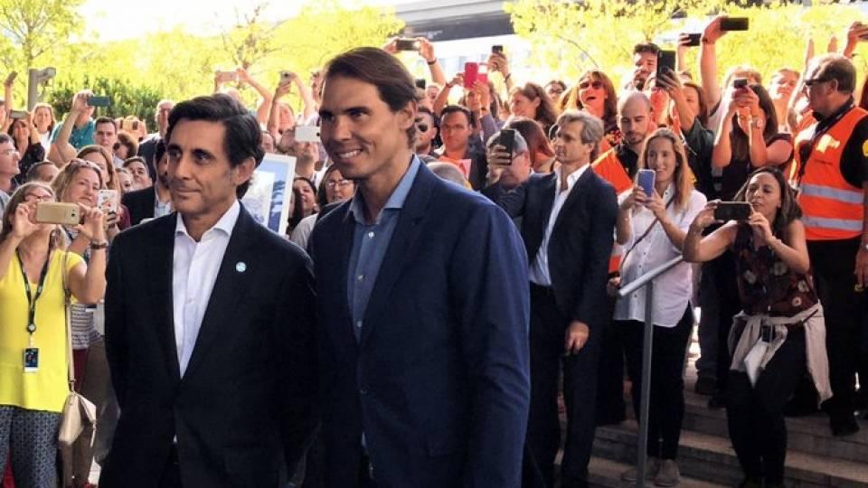 Rafa Nadal y José María Álvarez-Pallete en Distrito Telefónica