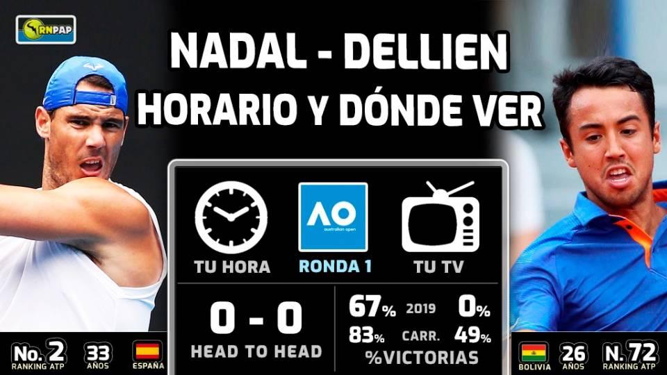 Nadal vs Dellien, horario y TV del partido primera ronda del Open Australia 2020