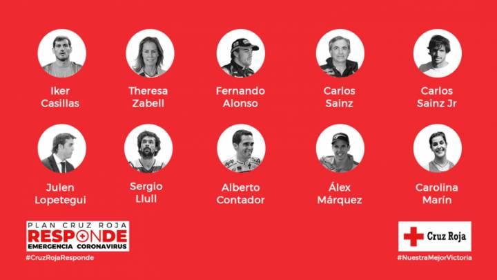 Las estrellas del deporte español aportaron su granito de arena al Plan Responde de Cruz Roja (C) Cruz Roja