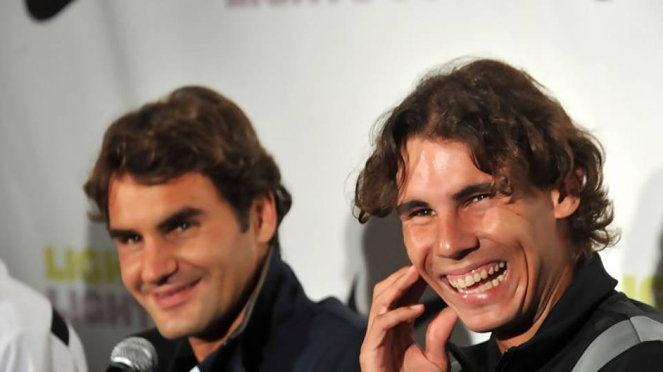 Federer y Nadal en un evento para Nike durante el US Open 2010