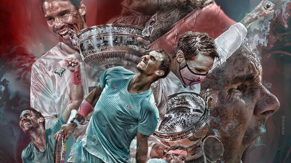 Ilustración de Nadal y su lucha por conseguir en 2020 el Roland Garros más difícil de su carrera