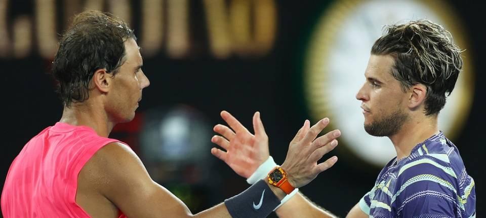 Rafa Nadal y Dominic Thiem durante el Open Australia 2020