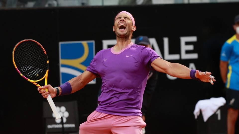 Rafa Nadal celebra el punto de torneo en el pasado Masters 1000 de Roma 2021