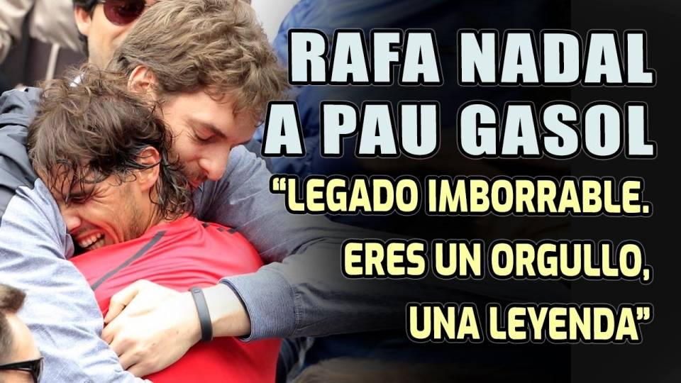 Enorme abrazo de Gasol a Nadal tras la final ganada por el balear en Roland Garros 2021